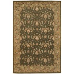 Hand-tufted Mandara Oriental Green Wool Rug (5' x 7'6)