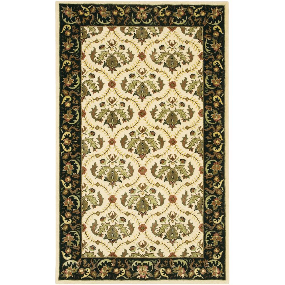 Hand-Tufted Mandara Oriental Ivory New Zealand Wool Rug (5' x 7'6)