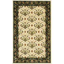 Hand-Tufted Mandara Oriental Ivory New Zealand Wool Rug (5' x 7'6)
