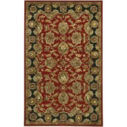 "Hand-Tufted Mandara Oriental Red Wool Area Rug (5' x 7'6"")"