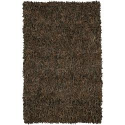 Hand-woven Mandara Brown Leather Shag Rug (2' x 7'6)