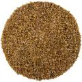 Hand-woven Mandara Gold Leather Shag Rug (3' Round)