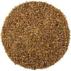 Hand-woven Mandara Gold Leather Shag Rug (4'9 Round)