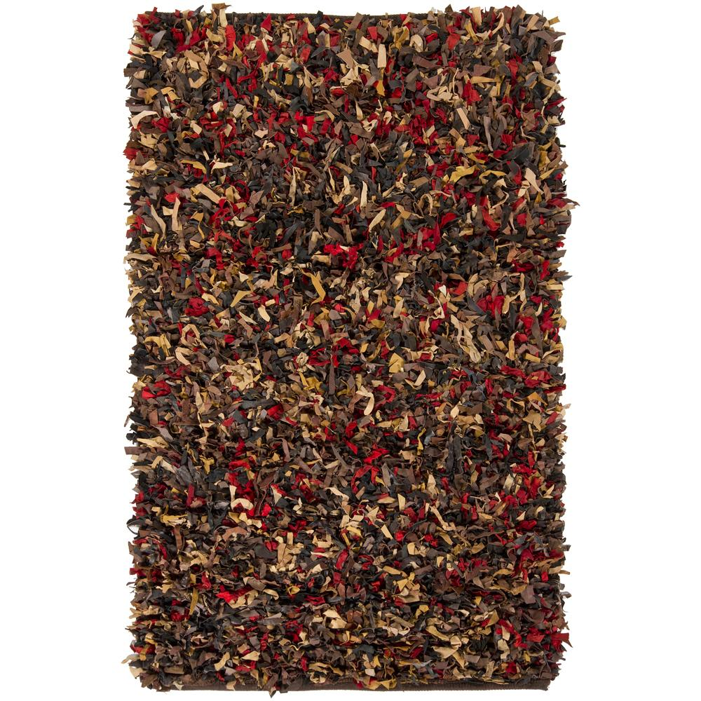 Hand-woven Multi-color Leather Shag Rug (3'6 x 5'6)