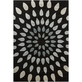 Hand-Tufted Gray/Black Mandara New Zealand Wool Rug (5' x 7'6)
