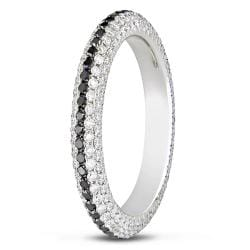 Miadora 18k White Gold 1 1/4ct TDW Black and White Diamond Eternity Ring (G-H, SI1)