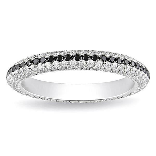 Miadora 18k White Gold 1 1/4ct Black and White Pave Eternity Diamond Ring (G-H, SI1)