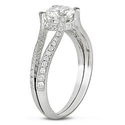 Miadora 18k White Gold 1 3/8ct TDW Certified Diamond Engagement Ring (G-H, SI2)