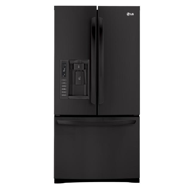 Lg Black 33 Inch Wide 25 Cu Ft 3 Door Refrigerator