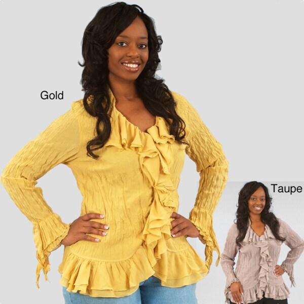 Kaelyn Max Women's Plus Size Long-sleeve Ruffled Tunic