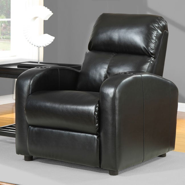 tracy black bonded leather recliner 80002076