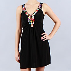 JFW Juniors Beaded V-neck Sleeveless Black Dress