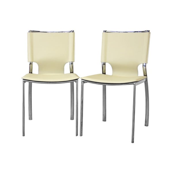 Montclare Ivory Leather Modern Dining Chair (Set of 2)