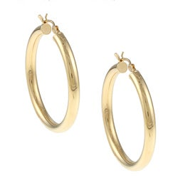Sterling Essentials 14K Gold over Silver 4 mm x 40 mm Diameter Polished Hoop Earring