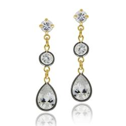 Icz Stonez18k Gold over Sterling Silver Cubic Zirconia Dangle Earrings