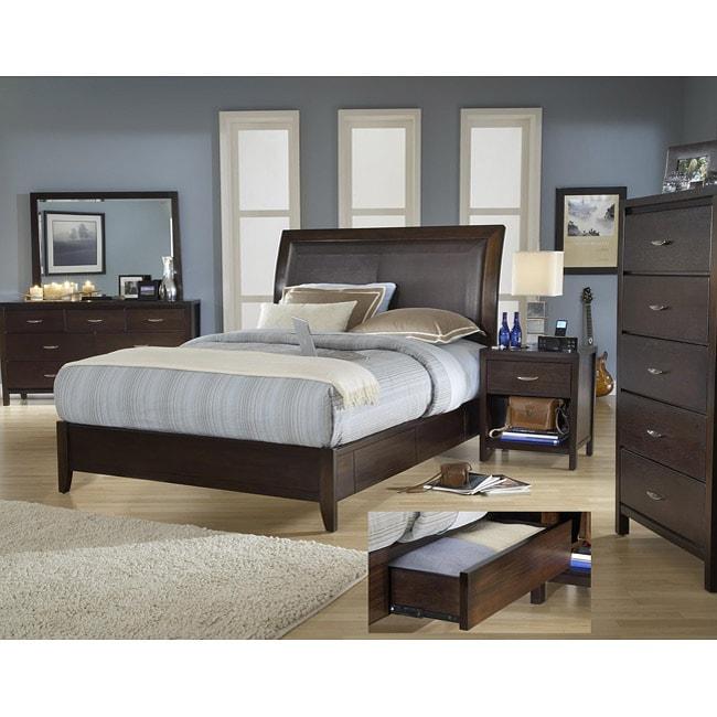Cushioned Back King Size Wood Storage Bed 13472825