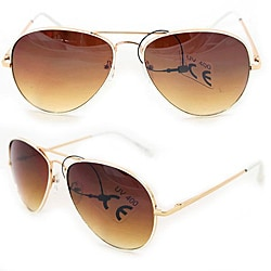 SWG Women's 385B Gold, White and Amber Aviator Sunglasses
