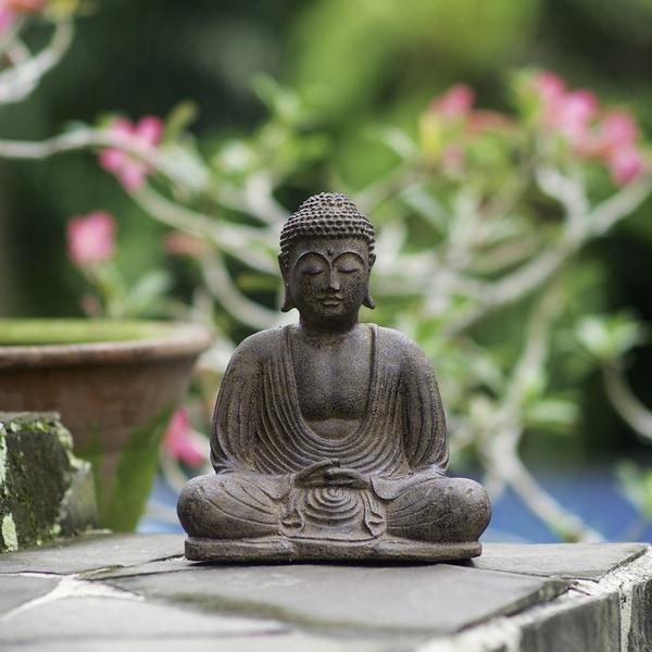 Volcanic Ash Buddha Lotus Antique Statue (Indonesia)