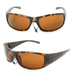 SWG Men's 2203 Brown Leopard Wrap Sunglasses