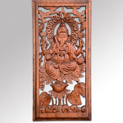 Suar Wood Ganesha Wall Plaque (Indonesia)