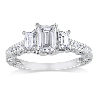 Miadora Signature Collection 18k White Gold 1 3/5ct TDW Emerald Cut Certified Diamond Ring (F-G, SI1)