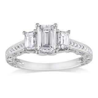 Miadora Signature Collection 18k White Gold 1 3/5ct TDW Emerald Cut Certified Diamond Ring (F-G, SI1)