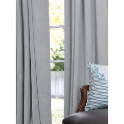 Signature Grey Blue Velvet 96-inch Blackout Curtain Panel