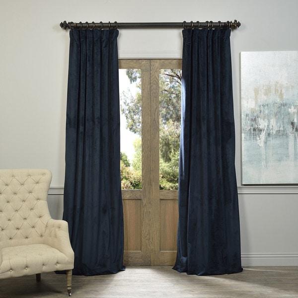 Signature Midnight Blue Velvet Blackout Curtain Panel