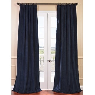 Signature Midnight Blue Velvet Blackout Curtain Panel