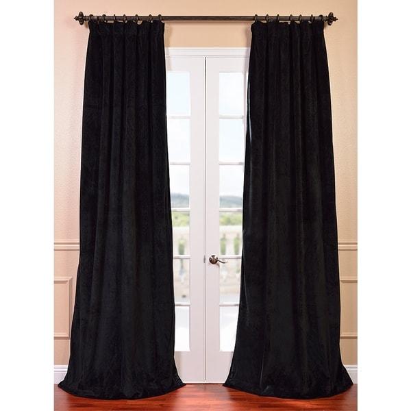 Exclusive Fabrics Signature Warm Black Velvet 84-inch Blackout Curtain Panel
