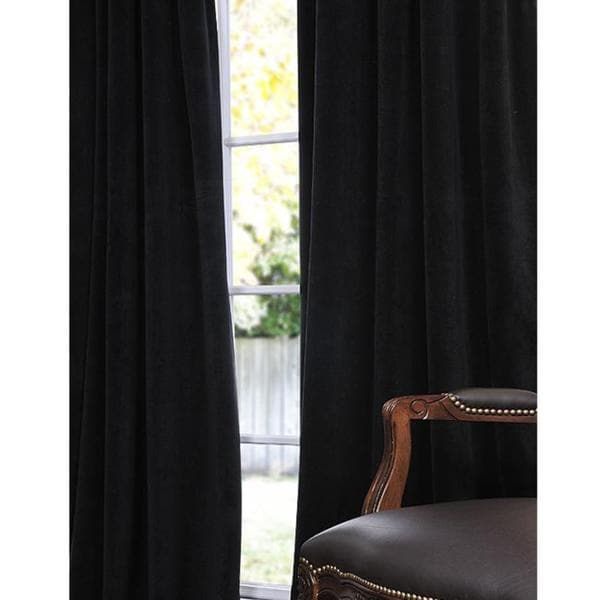 Signature Warm Black Velvet 108 inch Blackout Curtain Panel