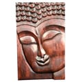 Suar Wood Buddha Face Wall Hanging (Indonesia)