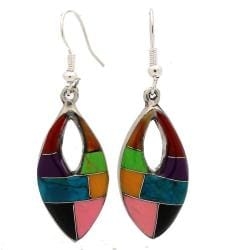 Alpaca Silver Gemstone Oval Cut-out Earrings (Mexico)