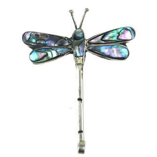 Global Crafts Alpaca Silver Abalone Dragonfly Pin (Mexico)