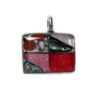Handcrafted Abalone, Jasper, and Shell Alpaca Silver Pendant (Mexico)