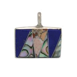 Alpaca Silver Mother of Pearl and Blue Gemstone Square Pendant (Mexico)
