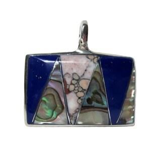 Alpaca Silver Abalone, Agate, and Lapis Lazuli Pendant (Mexico)