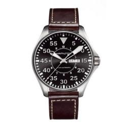 Hamilton Men's Black Dial Leather Strap Watch