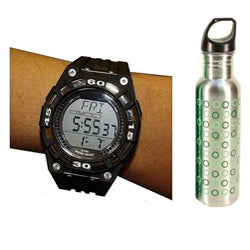 Beatech Black Heart Rate Monitor Watch with 24-oz Water Bottle