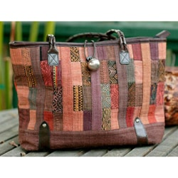 Cotton 'Warm Earth' Large Shoulder Bag (Thailand)