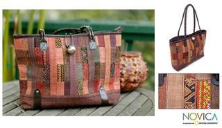 Cotton 'Warm Earth' Large Shoulder Bag (Thailand)