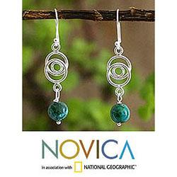 Sterling Silver 'Friendship Chain' Chrysocolla Earrings (Peru)