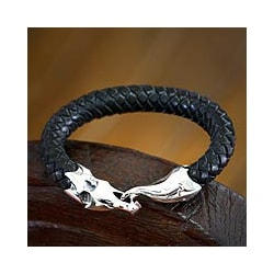 Sterling Silver Men's 'Dragon' Leather Bracelet (Indonesia)