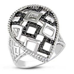 Miadora Sterling Silver 1/4ct TDW Black Bead-set Diamond Ring