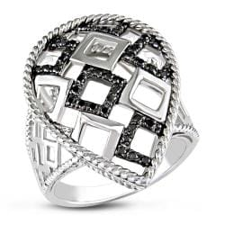 M by Miadora Sterling Silver 1/4ct TDW Black Bead-set Diamond Ring