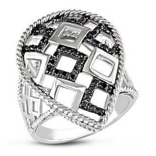 Haylee Jewels Sterling Silver 1/4ct TDW Black Bead-set Diamond Ring