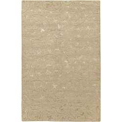 Hand-knotted Nahuel Beige Wool and Art Silk Rug (5'6 x 8'6)