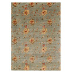 Hand-knotted Divchi Green Wool and Art Silk Rug (2' x 3')