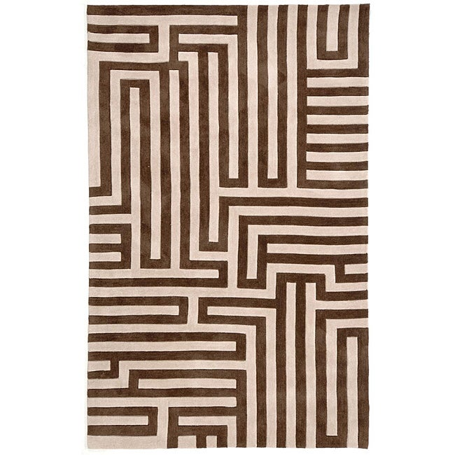 Hand-tufted Kamari Beige Abstract Rug (2' x 3')
