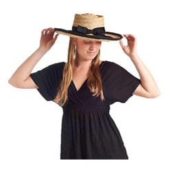 Braided Raffia Natural and Black Sun Hat (China)